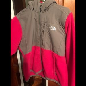 Pink and grey north face